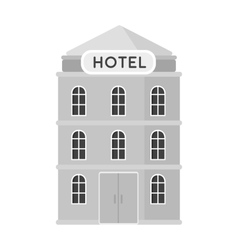 Hotel building icon in monochrome style isolated vector
