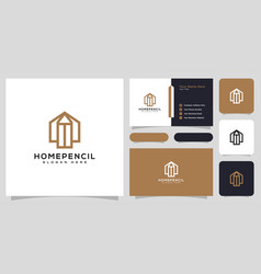 house pencil logo design line style and business vector image