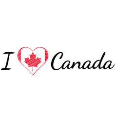 I love country canada text heart doodle vector
