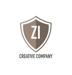 Initial letter zi shield design loco concept vector