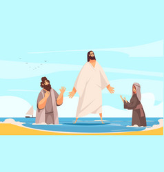 jesus water walking composition vector image