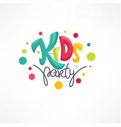 kids party playful lettering logo composition vector image