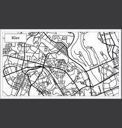 Kiev ukraine map in black and white color vector