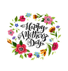 Lettering happy mothers day in flower frame vector