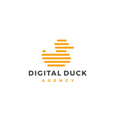 little duck logo icon line outline monoline vector image