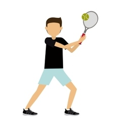 male athlete practicing tennis isolated icon vector image