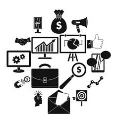 marketing items icons set simple style vector image
