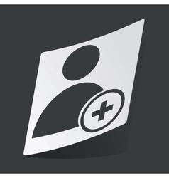 Monochrome add user sticker vector image
