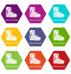 mountaineer shoes icons set 9 vector image