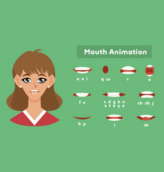 Mouth animation for a girl female pronunciation vector