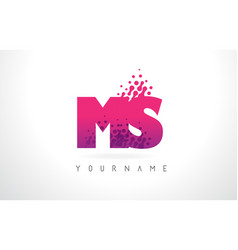 Ms m s letter logo with pink purple color and vector