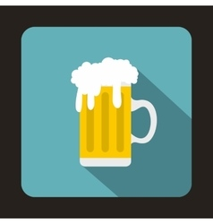 Mug fresh beer with cap of foam icon flat style vector image