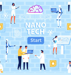 nano tech lab and scientists seamless pattern vector image