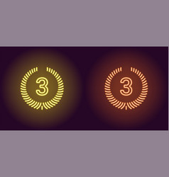 Neon icon of yellow and orange third place vector