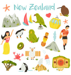 New zealand set symbols landmarks animals vector