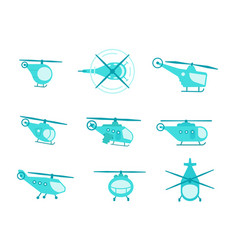 nice set of helicopters for your design transport vector image