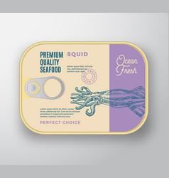 Premium seafood aluminium container with label vector