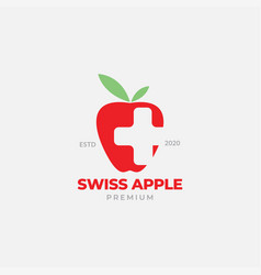 Red apple with swiss modern logo design vector