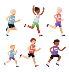 running people different ages sport characters vector image
