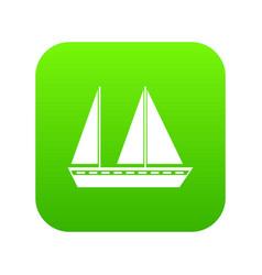 sailing boat icon digital green vector image