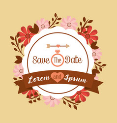 save the date poster floral invitation wedding vector image