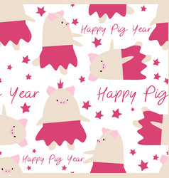 seamless cartoon pig new year symbol cute pattern vector image