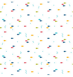 seamless pattern with colorful cartoon fishes vector image