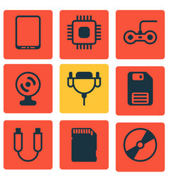 set of 9 computer hardware icons includes cd-rom vector image