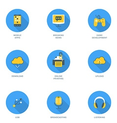 Set of Flat Design Icons With Long Shadow Modile vector
