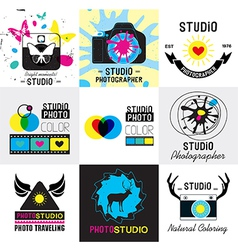 set vintage photo studio logo labels badges vector image