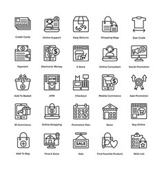 Shopping line icons collection vector