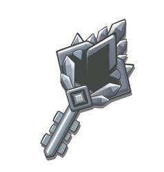 Silver charm magic key in cartoon style vector