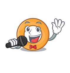 Singing onion ring mascot cartoon vector