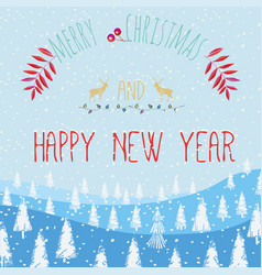 slogan merry christmas and happy new year vector image