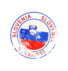 slovenia sign vintage grunge imprint with flag on vector image