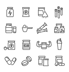 Sports supplements and health food icon set vector