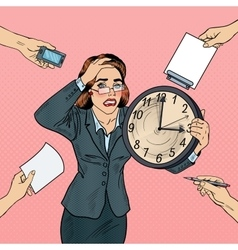 Stressed Pop Art Business Woman with Big Clock vector image