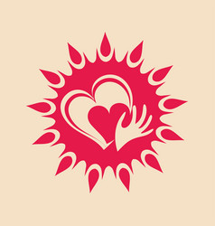 Sun and heart in hand vector