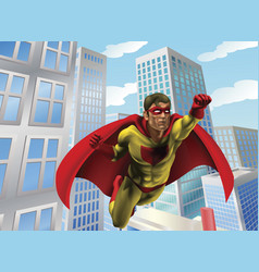 Superhero flying through city vector