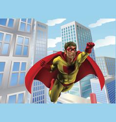superhero flying through city vector image vector image