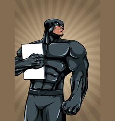 Superhero holding book ray light vertical vector