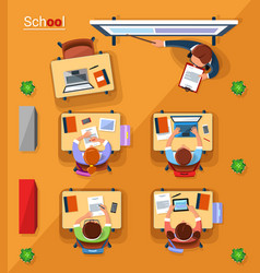 top view school concept in vector image