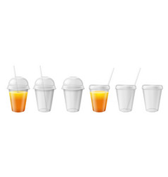transparent plastic cup takeaway disposable mug vector image