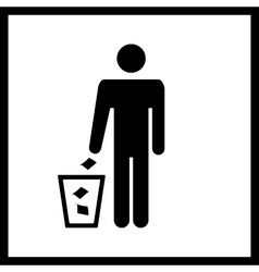 Trash bin sign vector image
