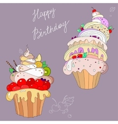 two fantastic cakes vector image