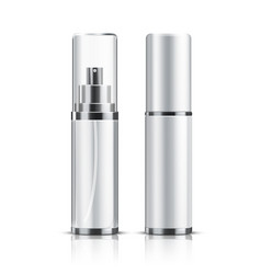 two realistic cosmetic bottle on a white vector image