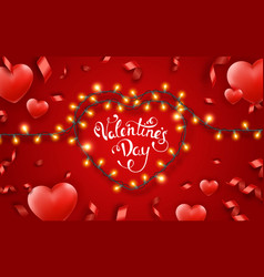 valentines day background with red hearts ribbons vector image