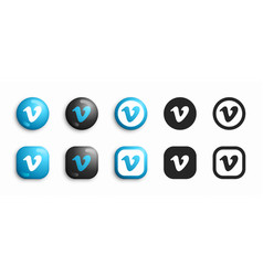 vimeo modern 3d and flat icons set vector image