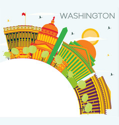washington dc skyline with color buildings blue vector image