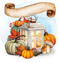 watercolor hand drawn fall lantern with scroll vector image